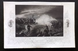 Tyrrell Crimean War 1858 Antique Print. Night Scene in Trenches, Sebastopol
